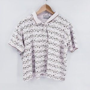 Vintage Floral Crop Top Polo Shirt